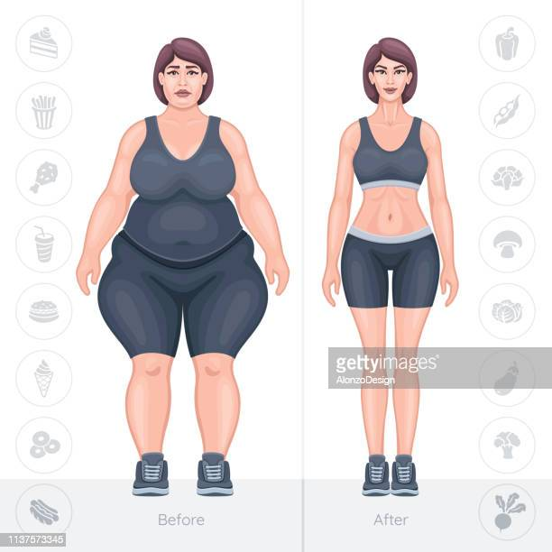 weight loss concept. fat and thin female body - conversion sport stock illustrations