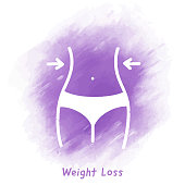 Weight Loss Doodle Watercolor Background