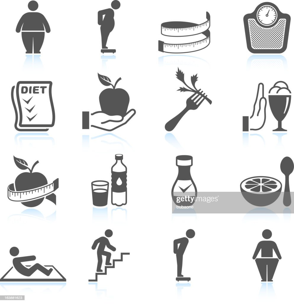weight loss exercise diet and gym ector interface icon set