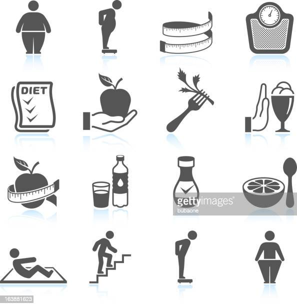 weight loss exercise diet and gym ector interface icon set - dieting stock illustrations, clip art, cartoons, & icons