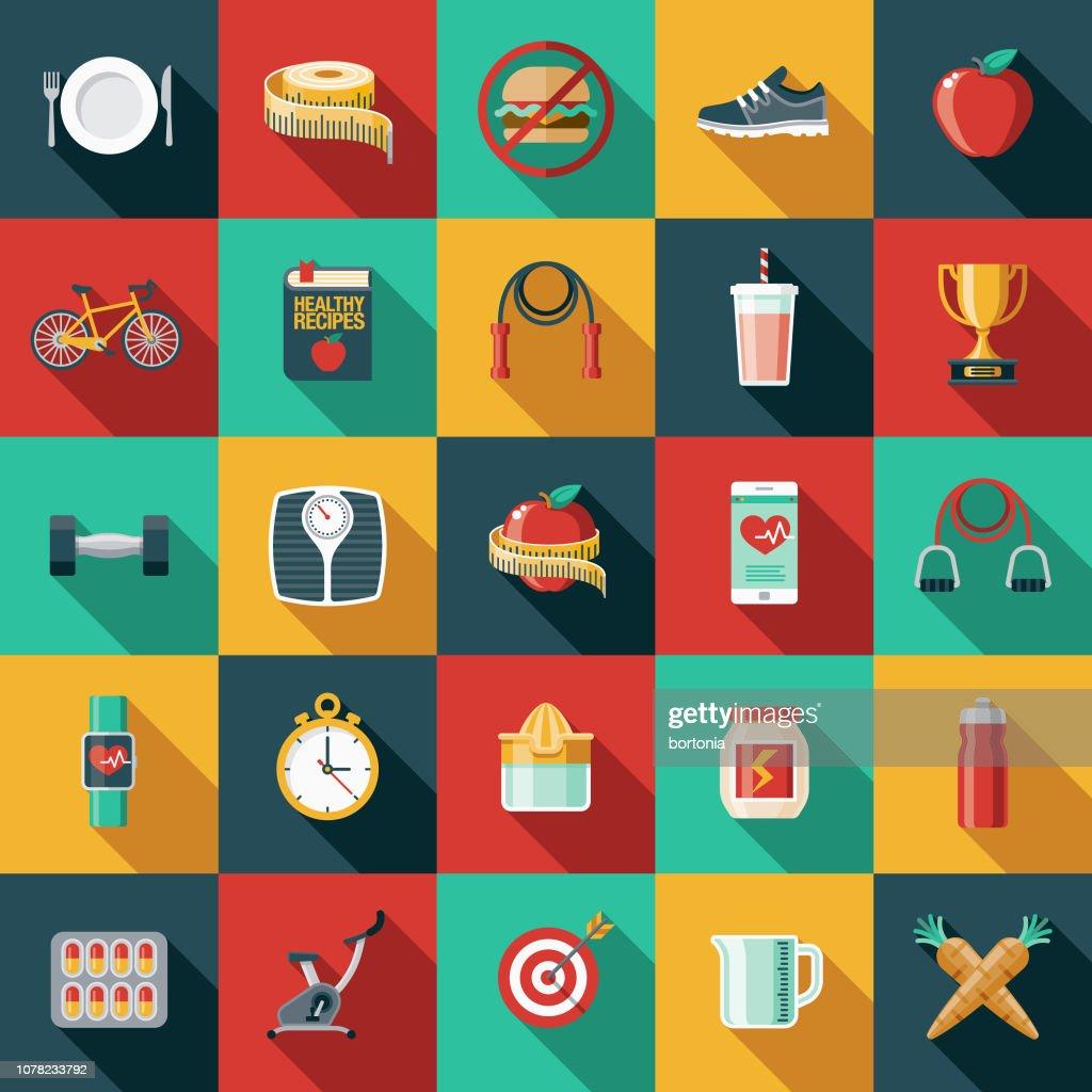 Set di icone di progettazione piatta per la perdita di peso : Illustrazione stock