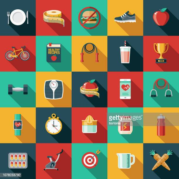 weight loss flat design icon set - dieting stock illustrations, clip art, cartoons, & icons