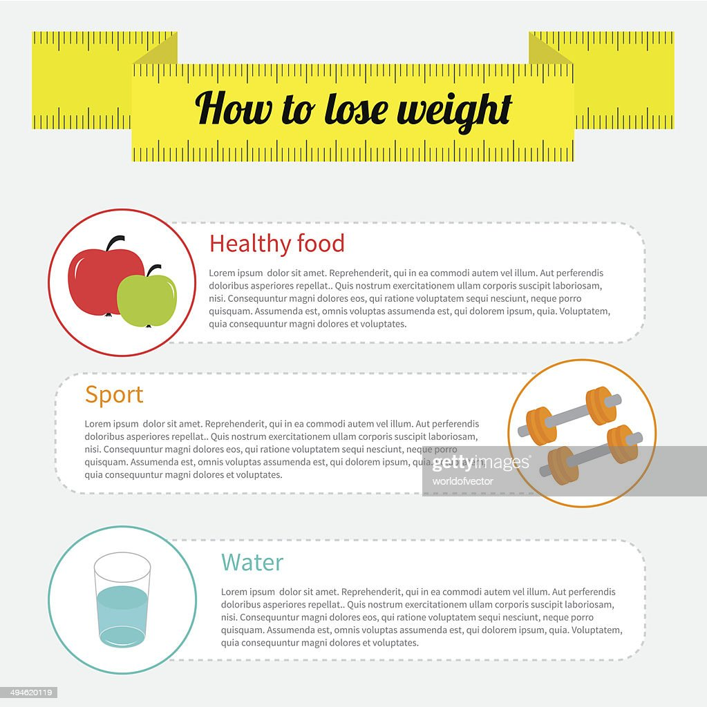 Weight loss infographic. Healthy food, sport fitness, drink wate