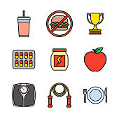 Weight Loss Thin Line Icon Set