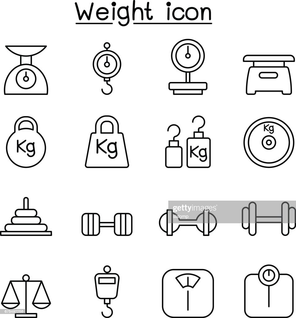 Weight, scale, balance, icon set in thin line style