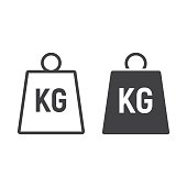 Weight symbol line and glyph icon, logistic and delivery, kilogram sign vector graphics, a linear pattern on a white background, eps 10.