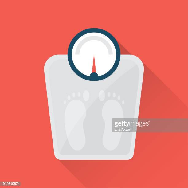 weighted scales flat icon - scale stock illustrations
