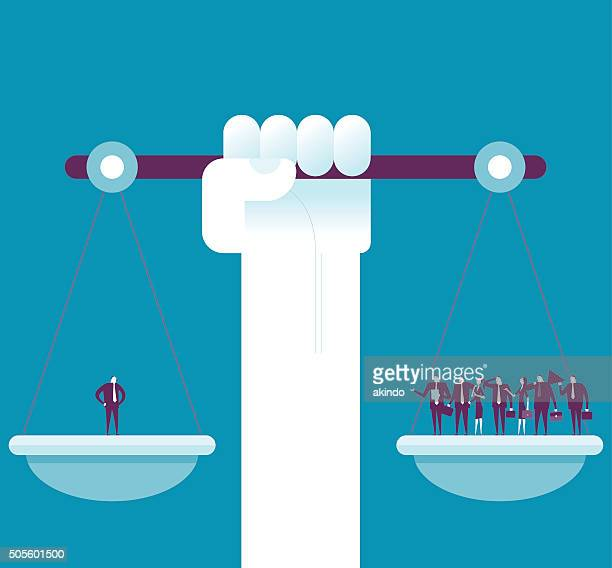 weighting on the scale. - justice concept stock illustrations