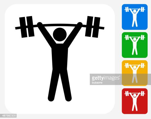 weightlifter icon flat graphic design - weight training stock illustrations