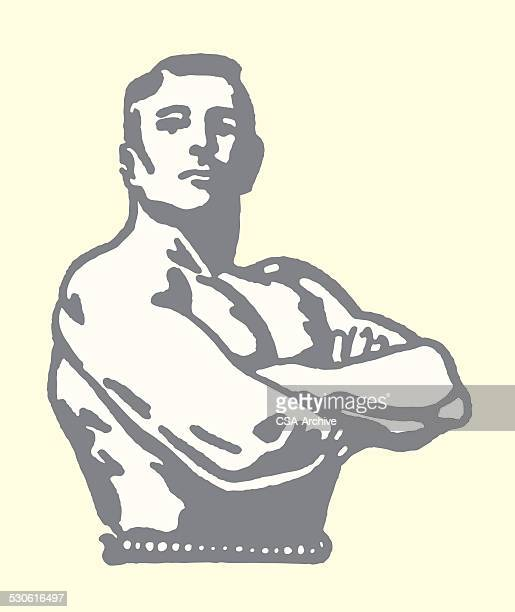 weightlifter posing - masculinity stock illustrations