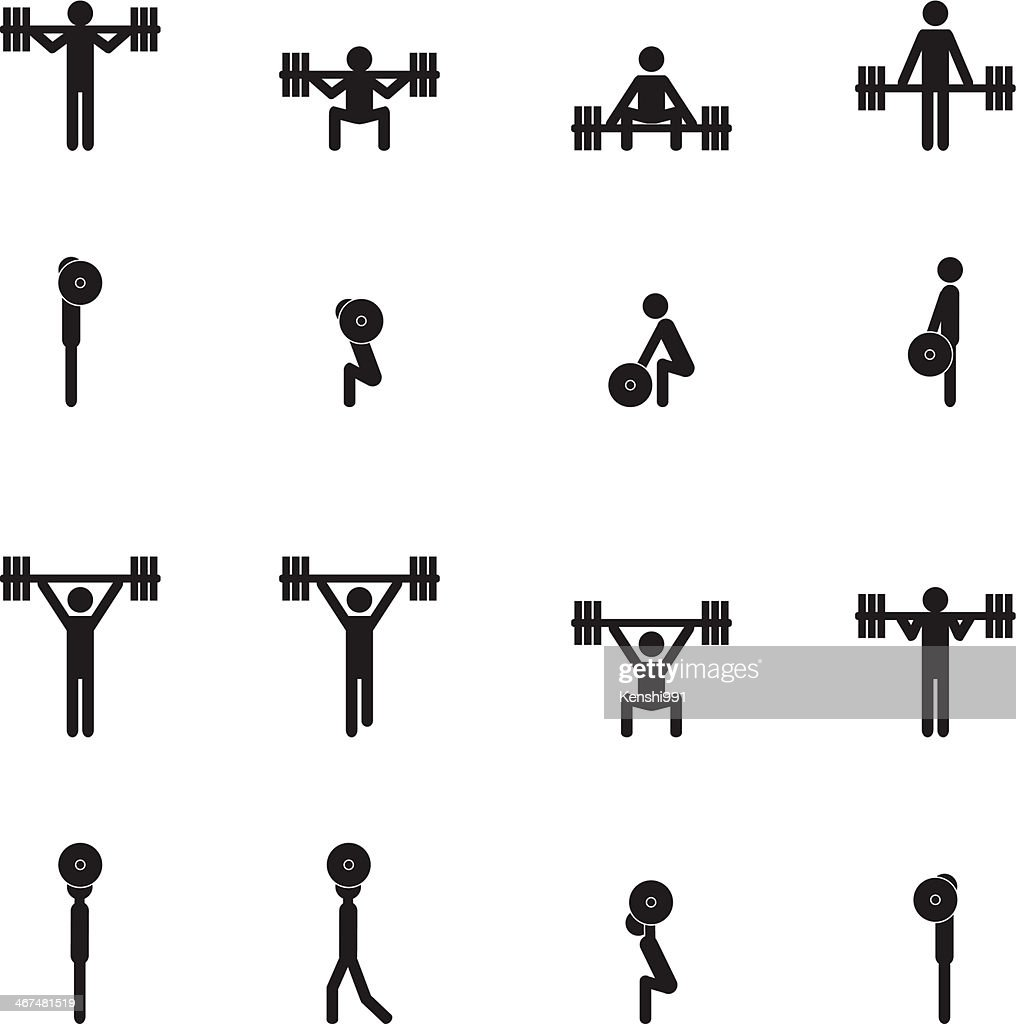 Weightlifting icon set