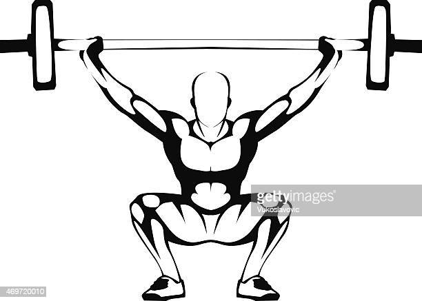 weightlifting squat. illustration. - crouching stock illustrations, clip art, cartoons, & icons