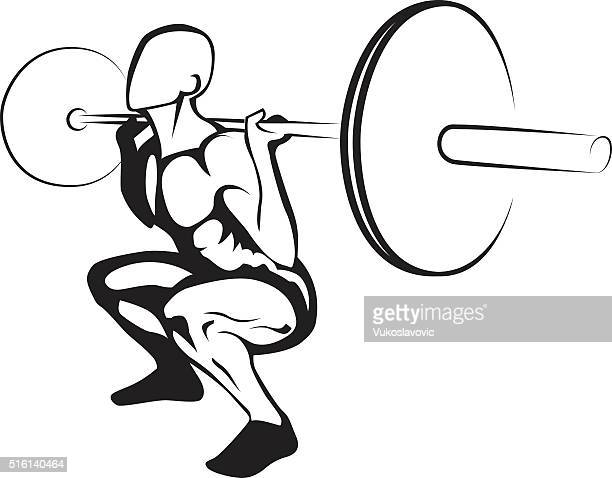 weightlifting squat. vector illustration - crouching stock illustrations, clip art, cartoons, & icons