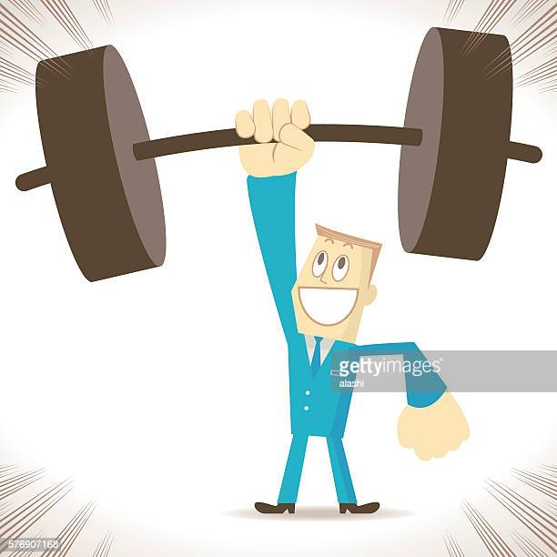 Weightlifting, strong businessman (elite) lifting heavy weight by one hand