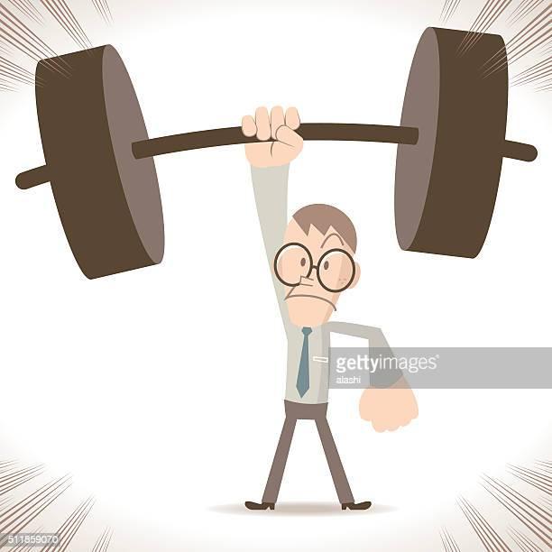 ilustraciones, imágenes clip art, dibujos animados e iconos de stock de levantamiento de pesas, fuerte delgado hombre de negocios levantamiento de peso pesado con una mano - entrenamiento de fuerza