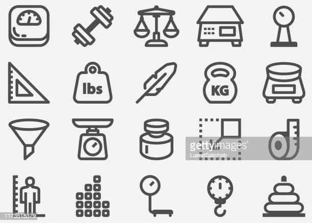 weights and scales icons - meter unit of length stock illustrations