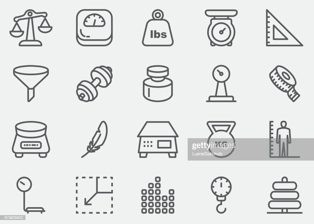 Weights and Scales Line Icons | EPS 10 : Stock Illustration