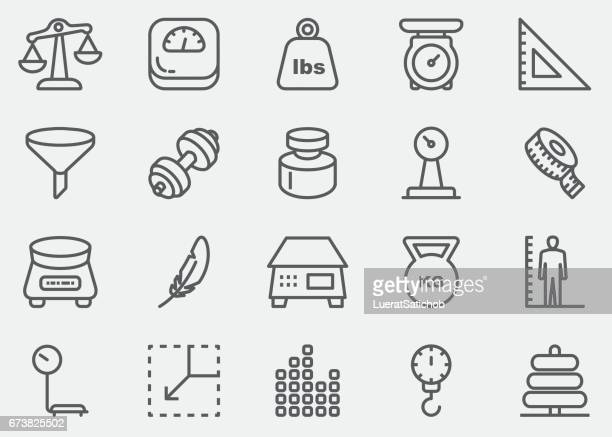 weights and scales line icons | eps 10 - scales stock illustrations