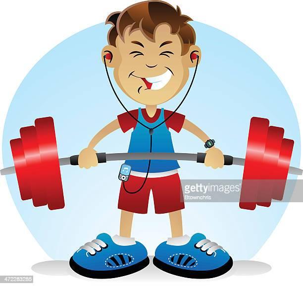 ウエイツ少年 - kids weightlifting点のイラスト素材/クリップアート素材/マンガ素材/アイコン素材