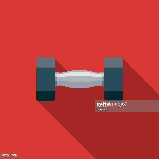 weights flat design sports icon with side shadow - dumbbell stock illustrations