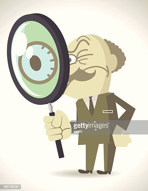 Weird evil boss holding a Magnifier and staring