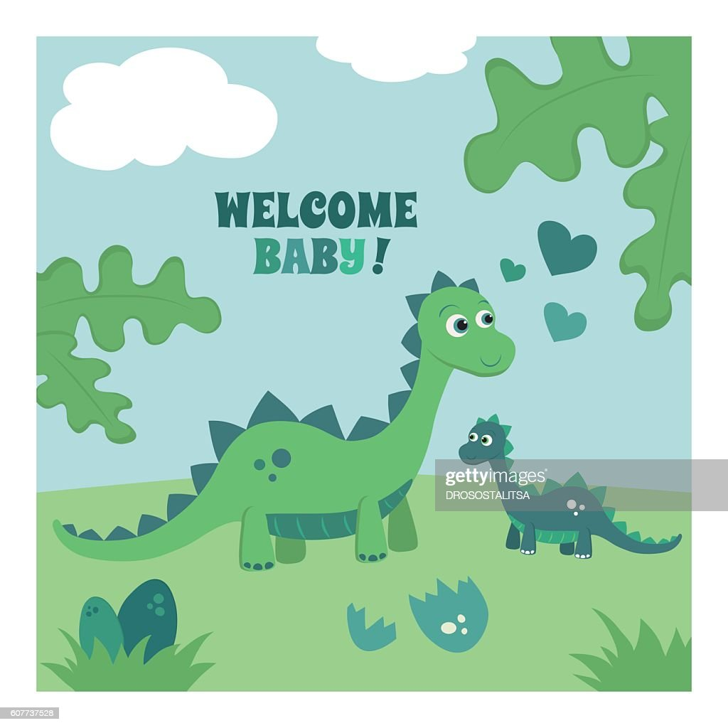 Welcome baby boy greeting card.