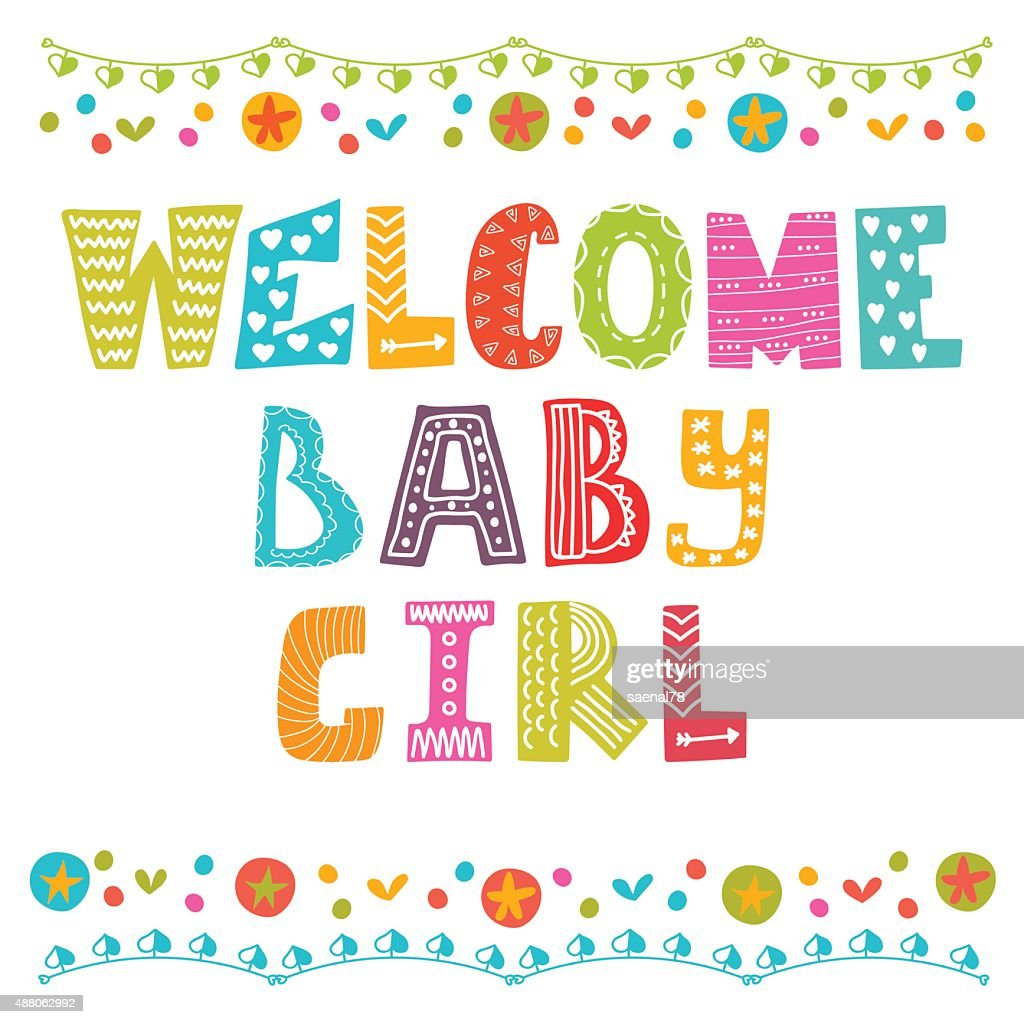 Welcome baby girl. Baby girl arrival card. Baby girl shower