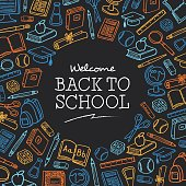 Welcome Back to school background with icons - Illustration