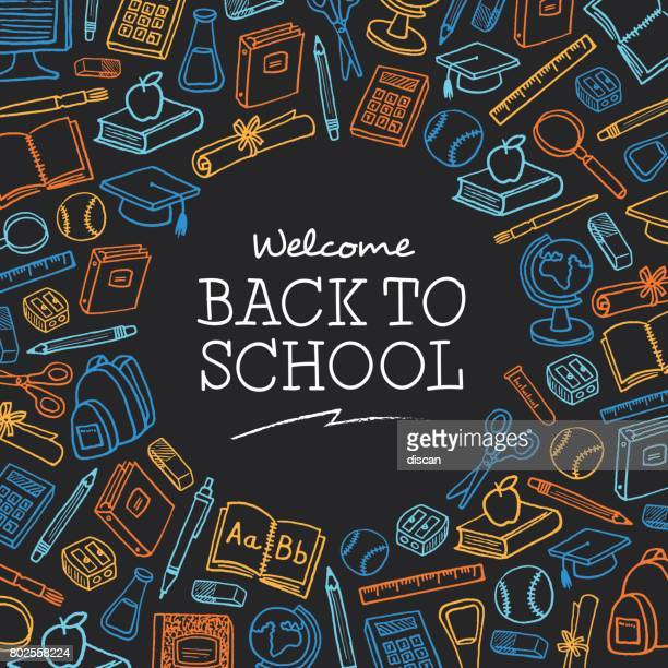 welcome back to school background with icons - illustration - school students stock illustrations, clip art, cartoons, & icons