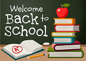 Welcome back to school chalk text on blackboard, stack of books, apple, pencil, open exercise book with A plus mark simple vector cartoon illustration. School, education, teaching theme poster, card.