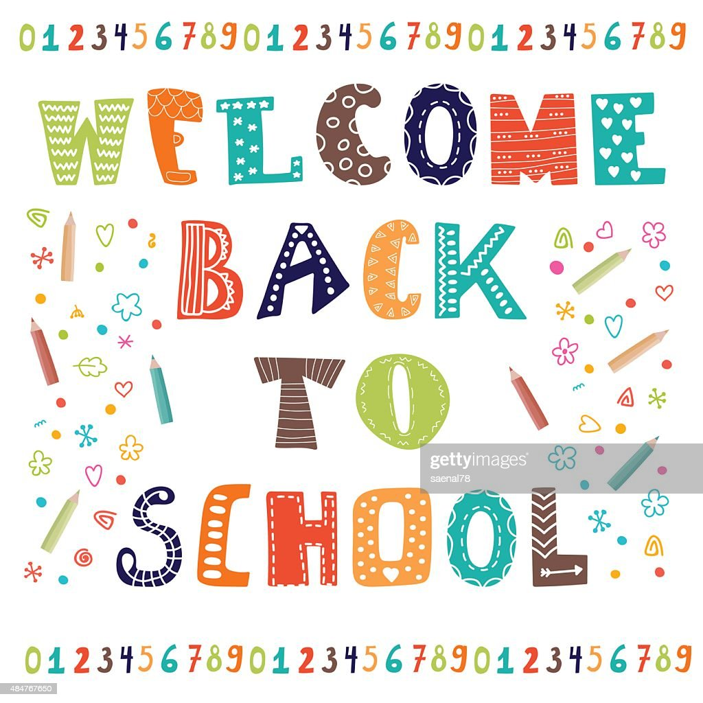 Welcome back to school. Greeting card. Back to school design