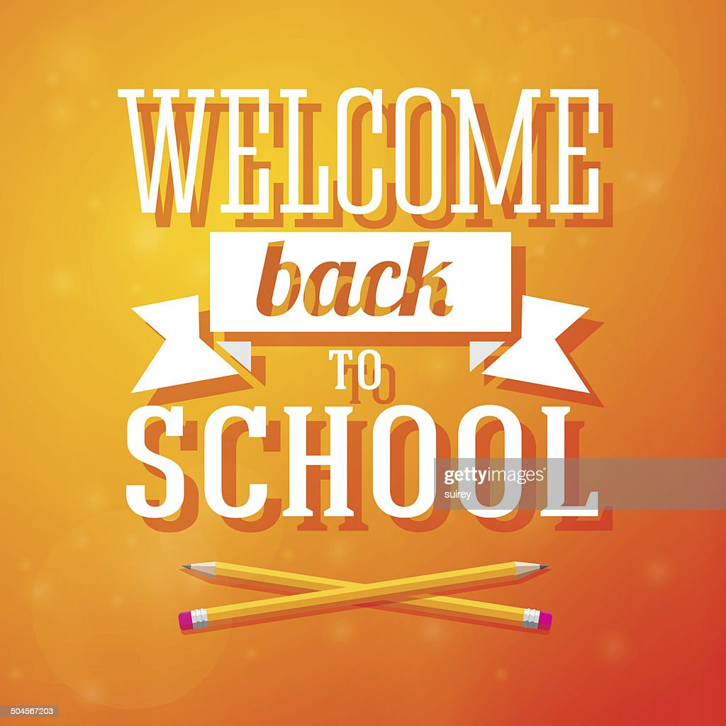 Welcome back to school greeting card with crossed pencils on vector welcome back to school greeting card with crossed pencils on vector art m4hsunfo