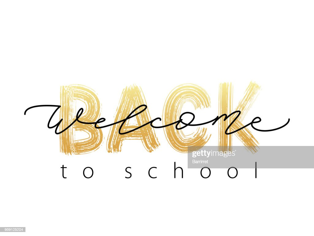 Welcome Back to School Text. Hand drawn brush lettering logo. Modern calligraphy. Vector illustration.