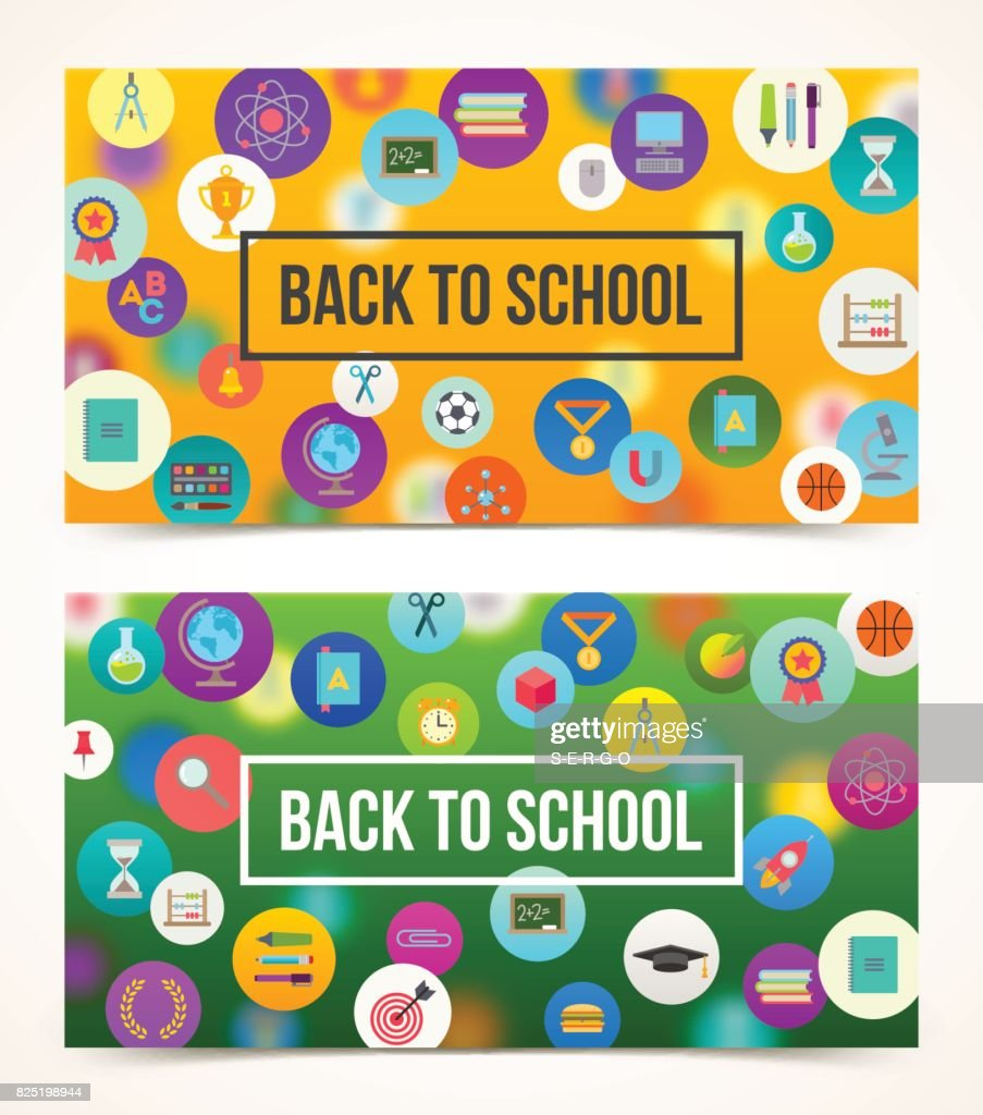 Welcome back to school two banners with greeting vector art getty welcome back to school two banners with greeting vector art m4hsunfo