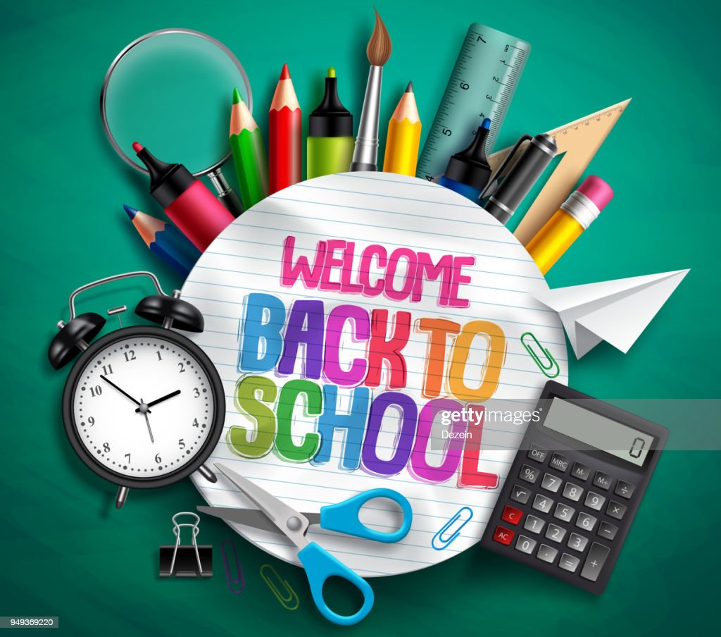 Welcome back to school vector banner with school supplies, education elements and colorful text