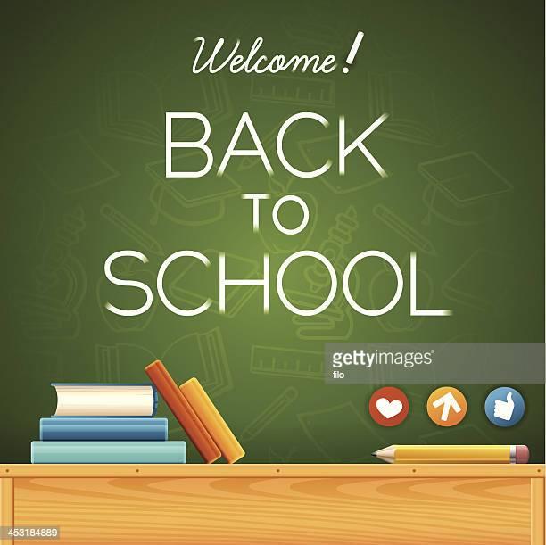 ilustraciones, imágenes clip art, dibujos animados e iconos de stock de bienvenido/a de nuevo a la escuela. - edificio de escuela primaria