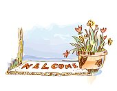 Welcome banner with door and flowers - sketchy style vector  illustration