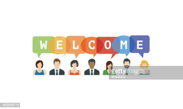 stockillustraties, clipart, cartoons en iconen met welcome concept. people icons with speech bubbles - begroeten