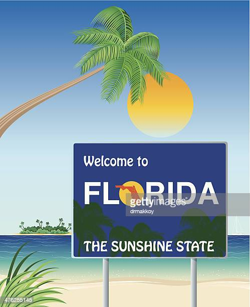 welcome florida - clearwater florida stock illustrations