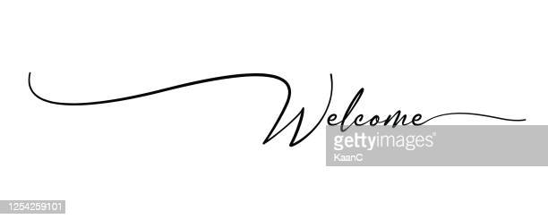 welcome hand drawn brush lettering. stock illustration - welcome sign stock illustrations