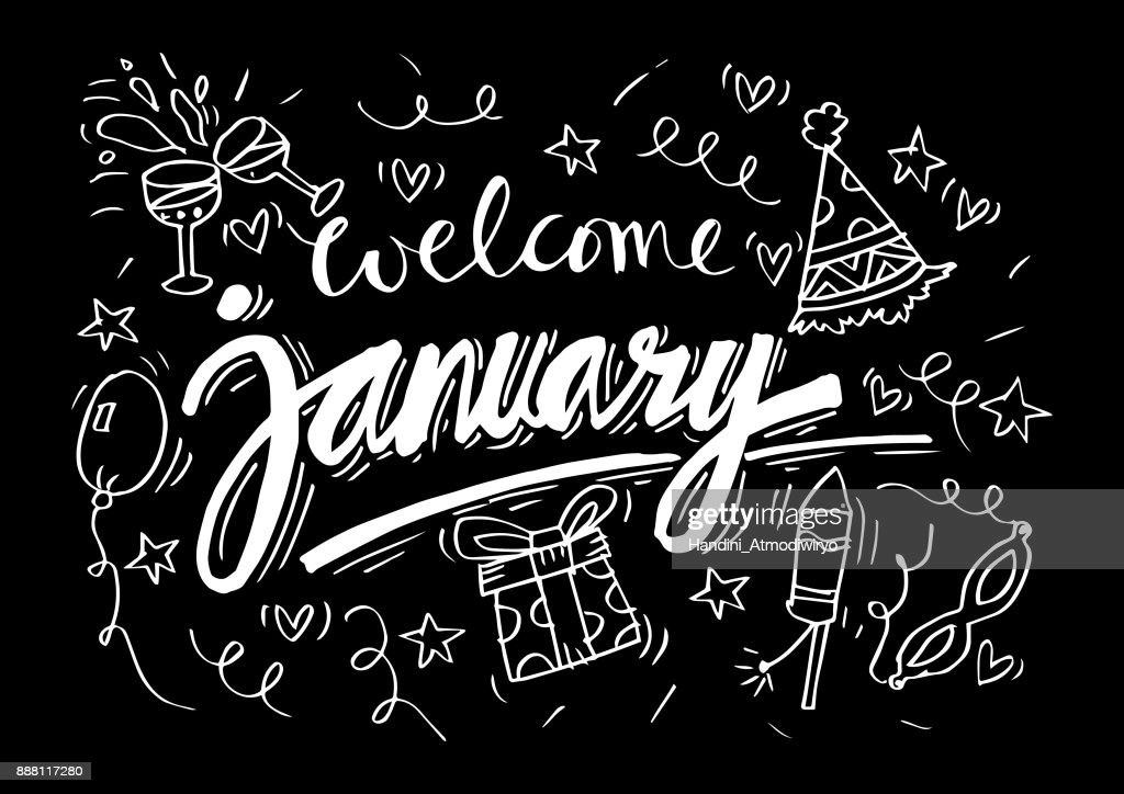 Welcome January Hand Lettering Calligraphy High Res Vector