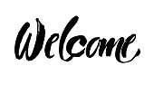 Welcome lettering. Handwritten modern calligraphy, brush painted letters. Vector.Template for banners, posters