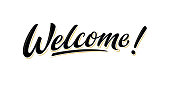 Welcome lettering sign. Isolated vector