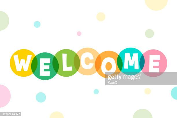 welcome lettering stock illustration - welcome sign stock illustrations