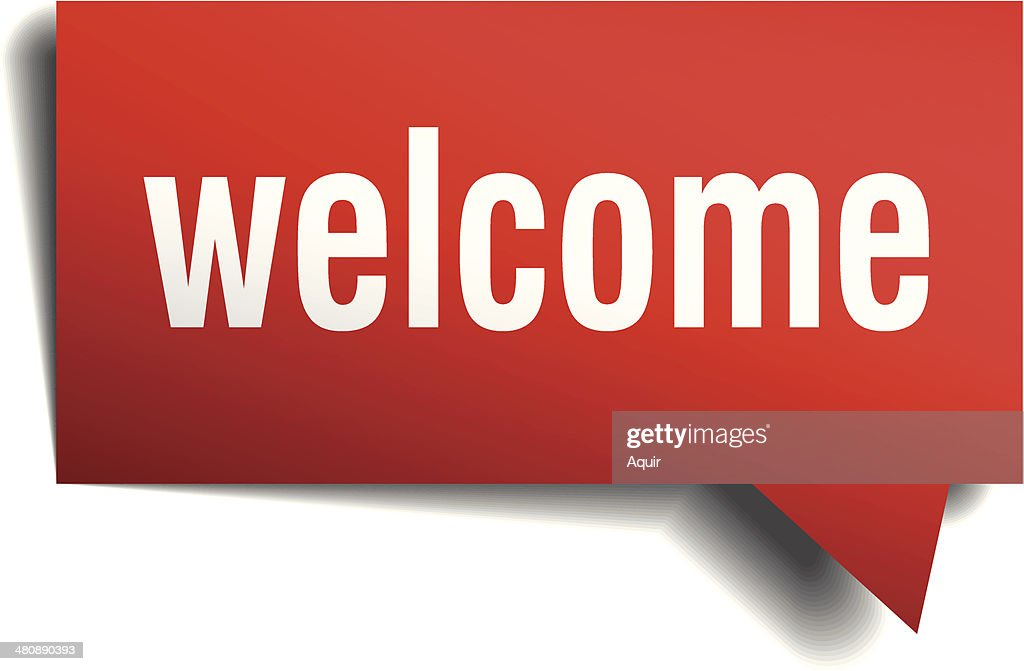 Welcome red 3d realistic paper speech bubble isolated on white