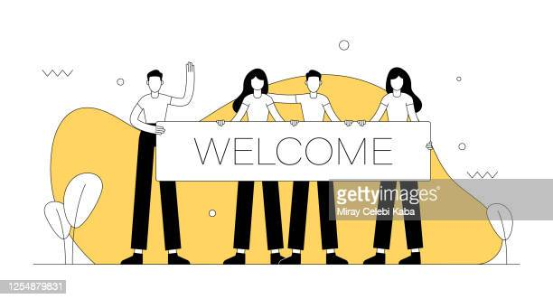 welcome related vector illustration. flat modern design - welcome sign stock illustrations