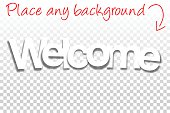 Welcome Sign for Design - Paper Font - Blank Background