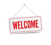 Welcome sign hanging isolated on white wall