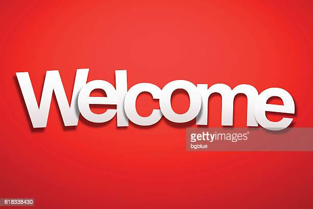 Welcome Sign with Red Background - Paper Font