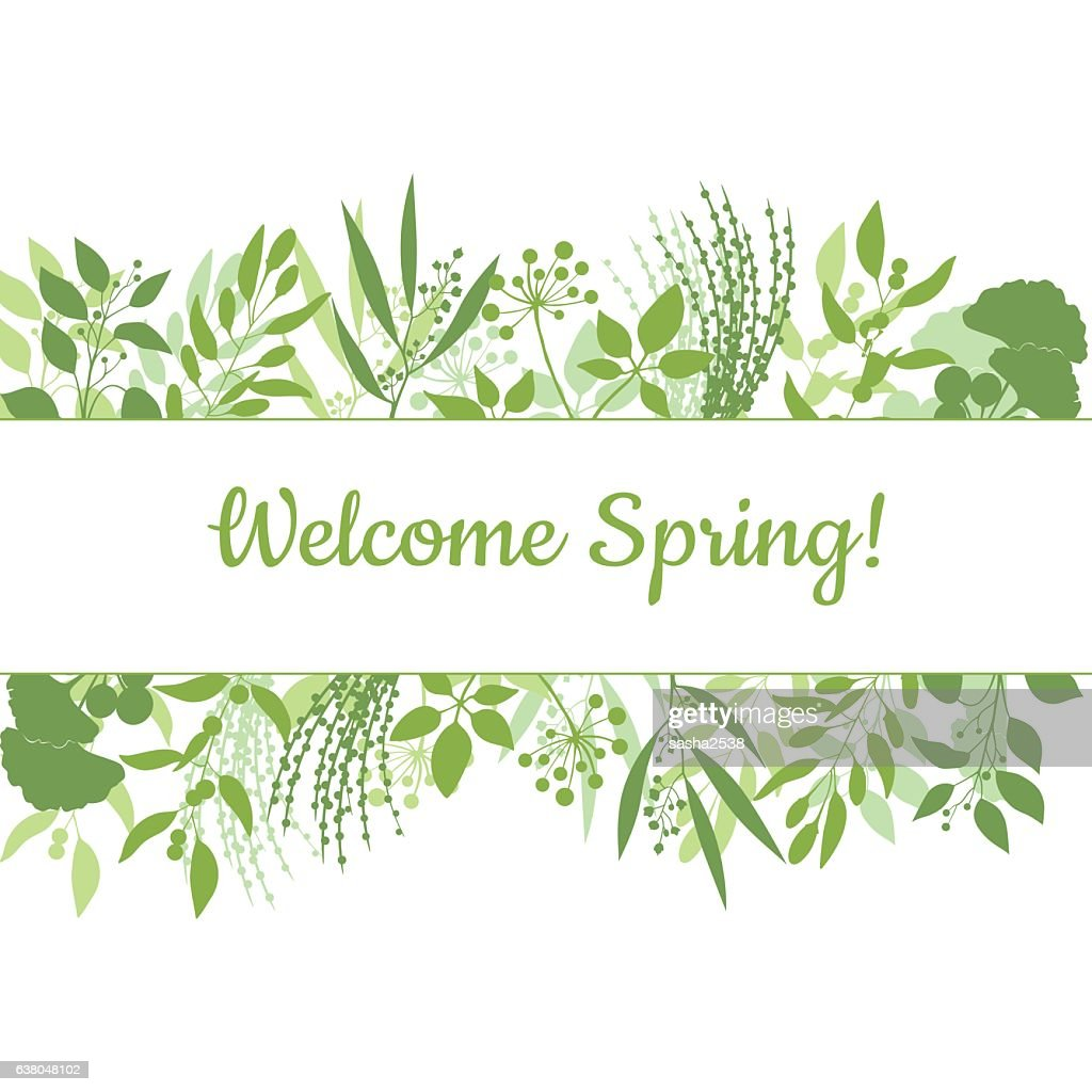 Welcome spring green card design text in floral frame